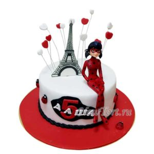 Красный торт с Леди Баг и эйфелевой башней
