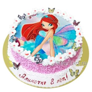 Торт фея Винкс с бабочками