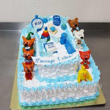 Торт цифра с героями Три кота и Мимимишки