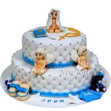 Торт на крестины с ангелочками