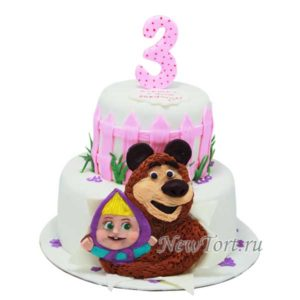 Торт Маша и Медведь  2 яруса
