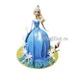 Торт кукла Эльза и Олаф