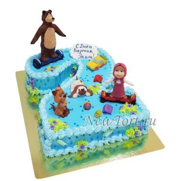 Торт Маша и Медведь на цифре