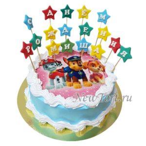 Торт щенячий патруль на картинке со звездами
