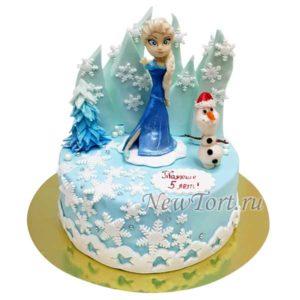 Торт из мастики с Эльзой и Олафом