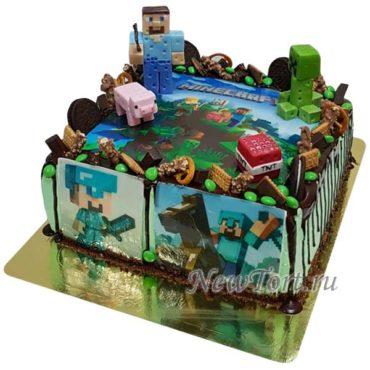 Торт майнкрафт  со сладостями