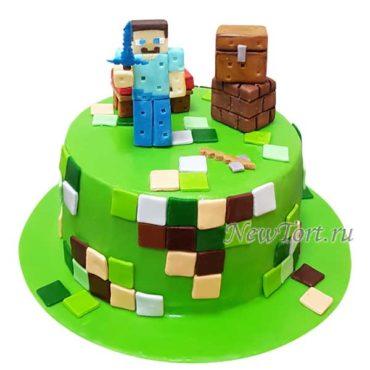 Торт майнкрафт  со Стивом из мастики