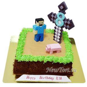 Торт майнкрафт с мечом без мастики
