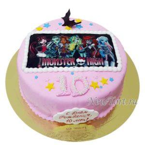 Торт картинка Монстры Хай с мастикой