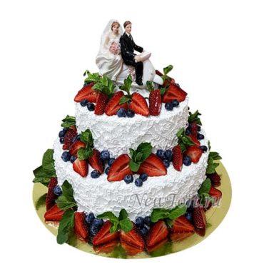 Свадебный торт без мастики с ягодами СТ200