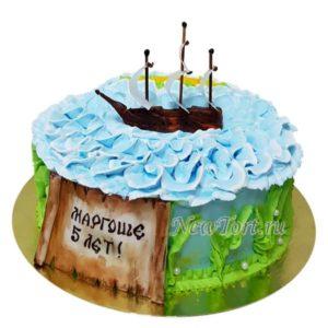 Торт с корабликом без мастики