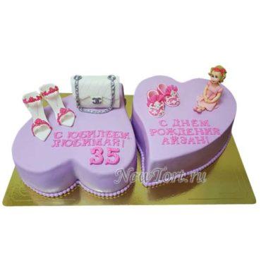Двойной торт для мамы и дочки