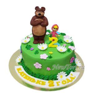 Торт Маша и Медведь и ромашки