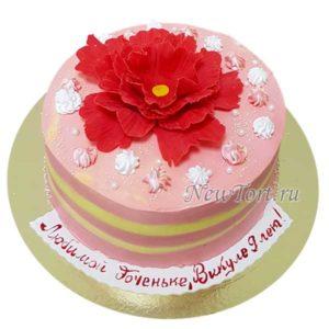 Торт с красным пионом без мастики