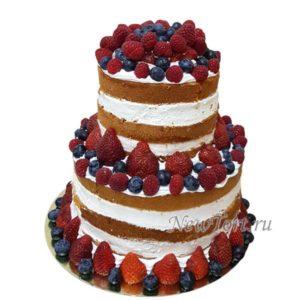 Голый свадебный торт в ягодах СТ209