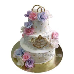 Свадебный торт с розами и кольцами СТ208
