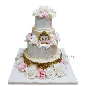 Свадебный торт розы и колонны СТ207