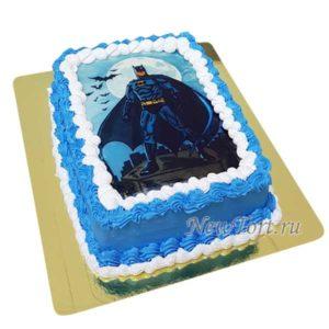 Торт синий с картинкой Бэтмена