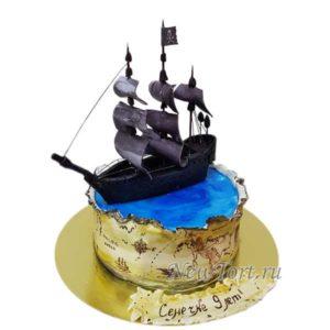 Торт Пиратская карта и корабль