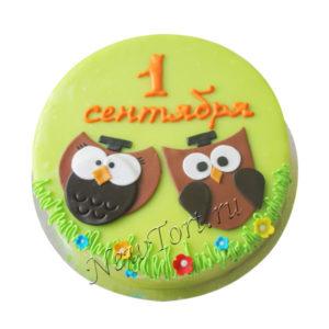 Торт с совами на 1 сентября