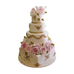 Четырёхъярусный свадебный торт СТ229