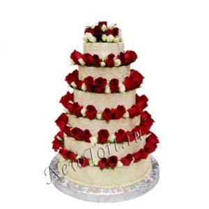 Большой свадебный торт Живые розы