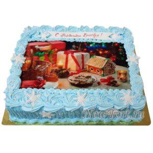 новогодний торт с фотпечатью