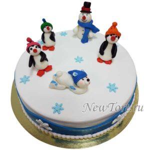 Новогодний торт снеговик и пингвины