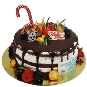 Новогодний голый торт с потеками