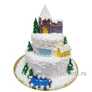 Большой новогодний торт без мастики
