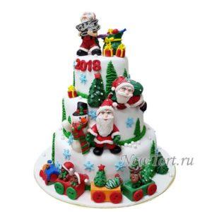 Большой новогодний торт с Дедом Морозом