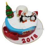 Новогодний торт пингвины и бантик