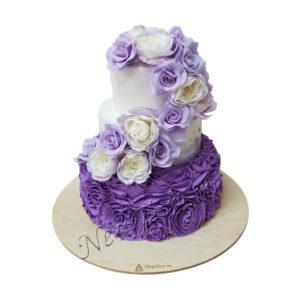 Свадебный торт разноцветные розы