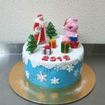 Новогодний торт Дед мороз и свинка