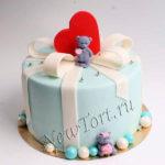 Торт сердечко и мишками