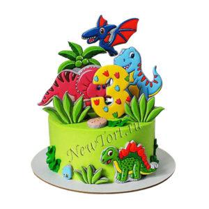 Торт динозавры на пряниках