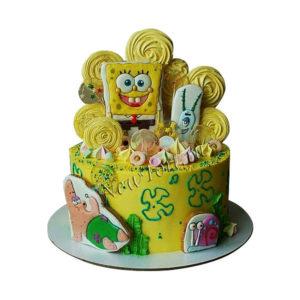 Торт губка Боб с пряниками