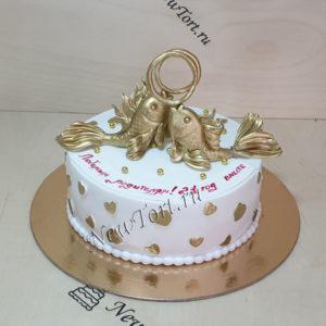Торт на золотую свадьбу с рыбками