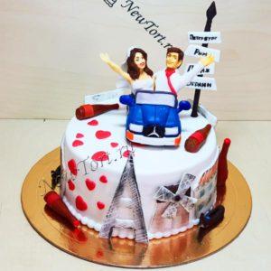 Торт свадебное путешествие в один ярус