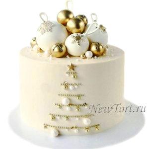 Новогодний торт c новогодними шарами