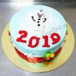 Новогодний торт cо снеговиком 2019