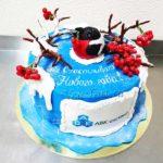 Новогодний торт cо снегирями