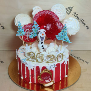 Новогодний торт со снеговиком 2020