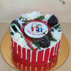 Новогодний торт с Дедом морозом и снегурочкой 2020