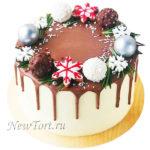 Новогодний торт с шарами и потеками НТ35