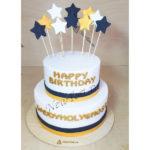 Белый корпоративный торт со звездами