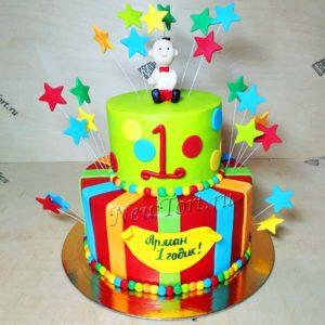 Большой торт  для мальчика со звездочками