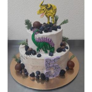 Торт динозавры с пряниками и ягодами