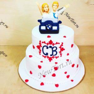 Торт свадебное путешествие на БМВ СТ327