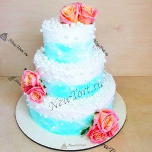Свадебный торт с цветами СТ318